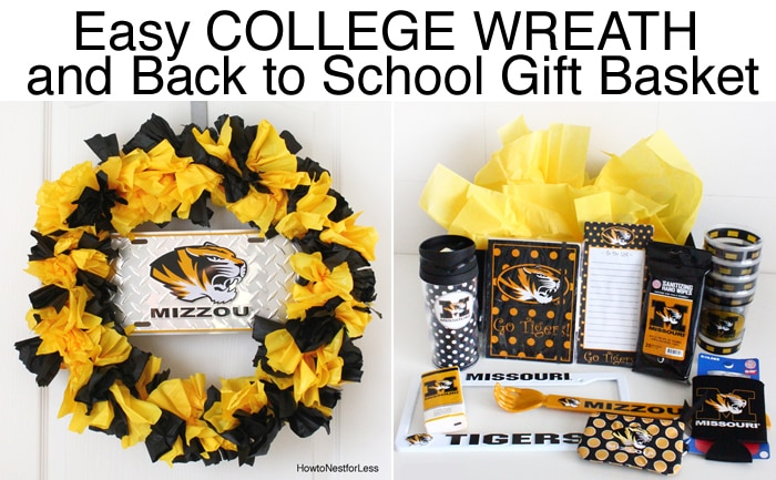 mizzou wreath and gift basket