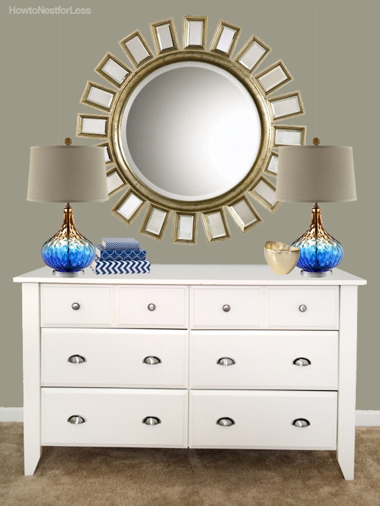 blue and gold dresser