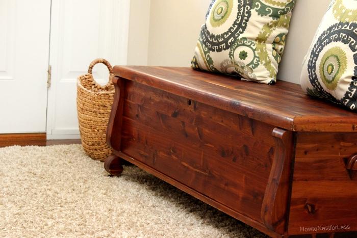 cedar bench in entryway