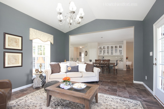 gray blue vaulted sun room