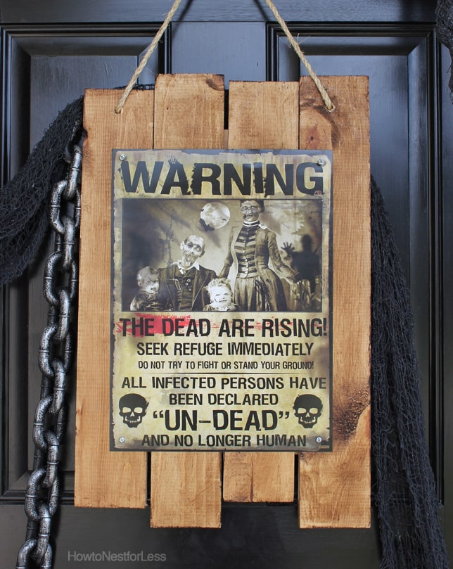 Zombie Apocalypse Sign + Halloween Front Porch