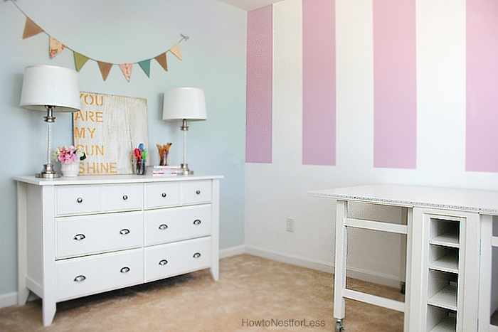 painted stripes craft room