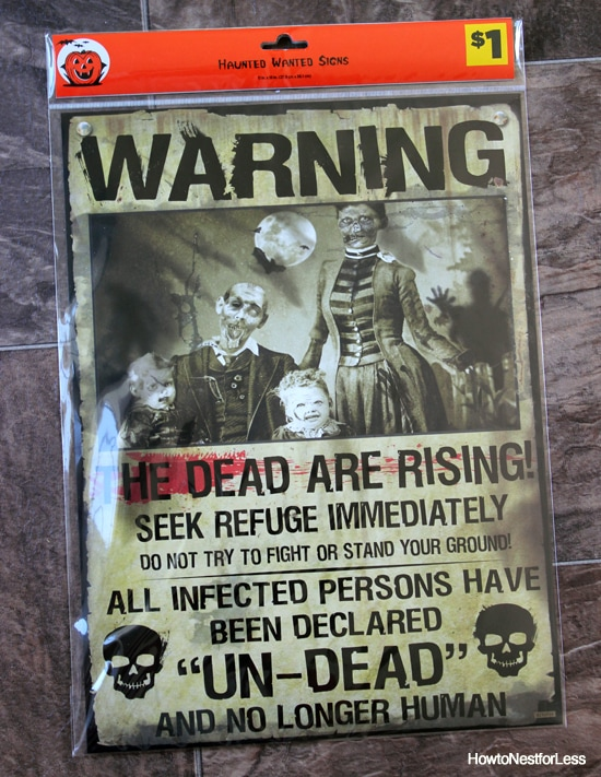 zombie halloween sign