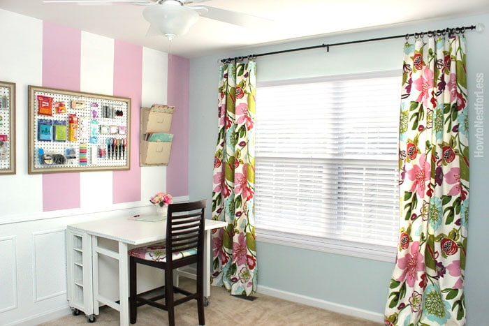 craft room floral drapes