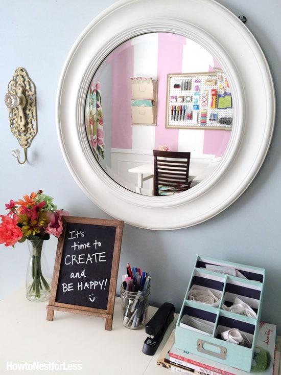 craft room striped makeover