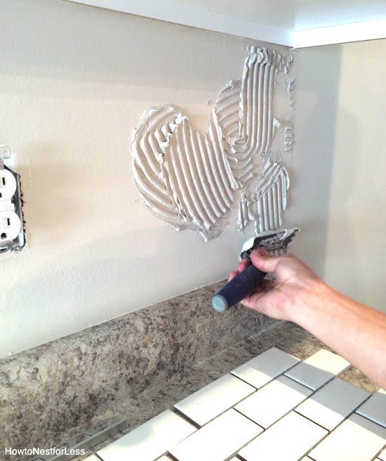 kitchen backsplash mortar trowel