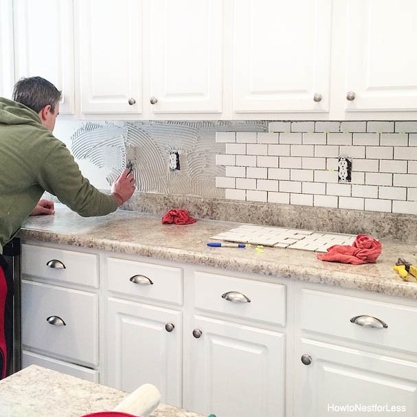 my new white subway tile kitchen backsplash that we installed for