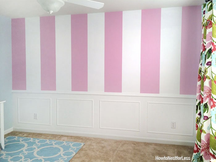 pink striped craft room walls