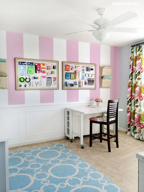 striped craft room makeover