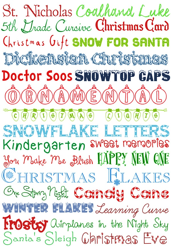 image regarding Free Printable Fonts named 25 Xmas Cost-free Fonts - How in the direction of Nest for Less™