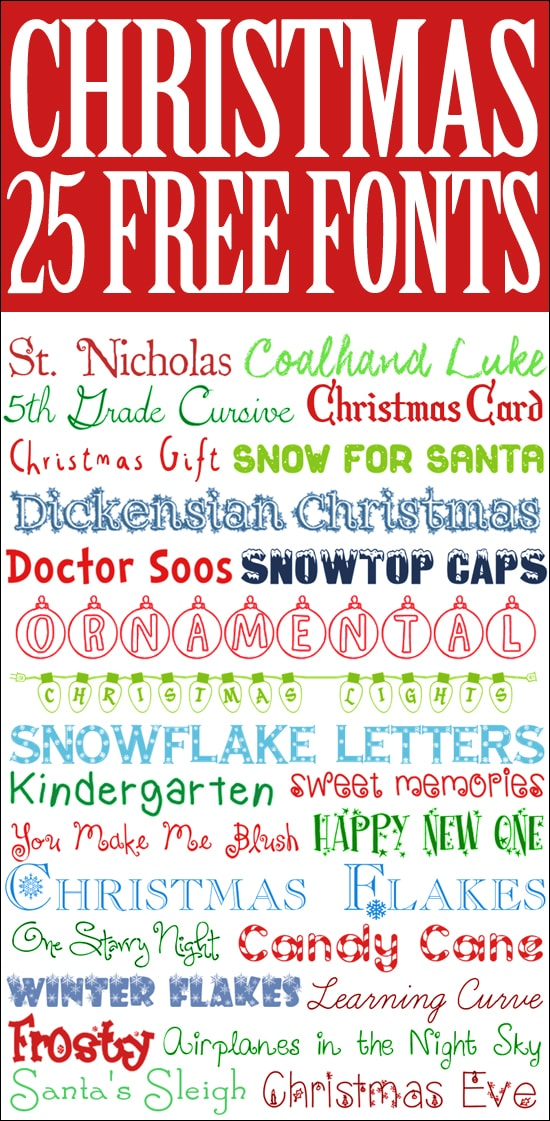 25 free christmas fonts