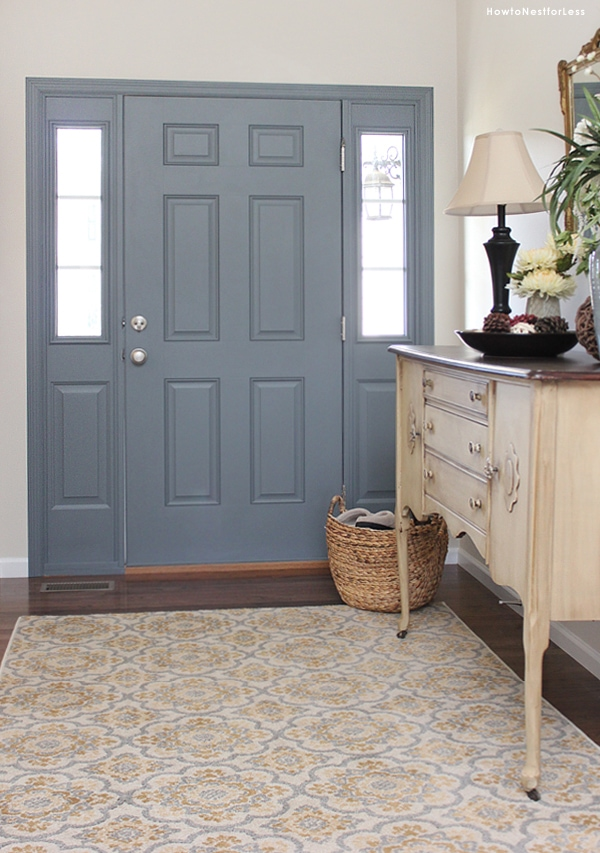 blue gray painted interior door