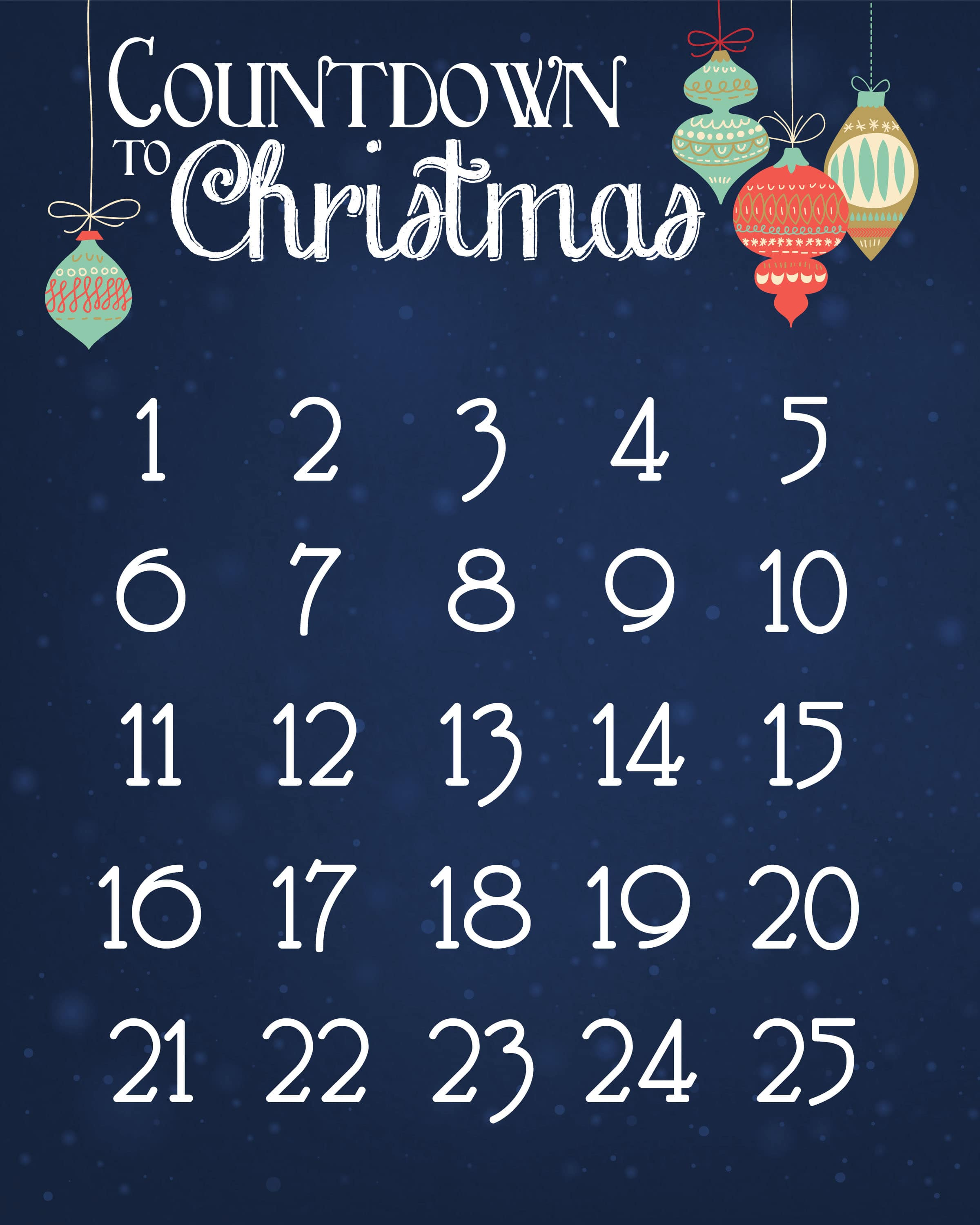 Christmas Countdown Calendar.Christmas Countdown Calendar Free Printable How To Nest