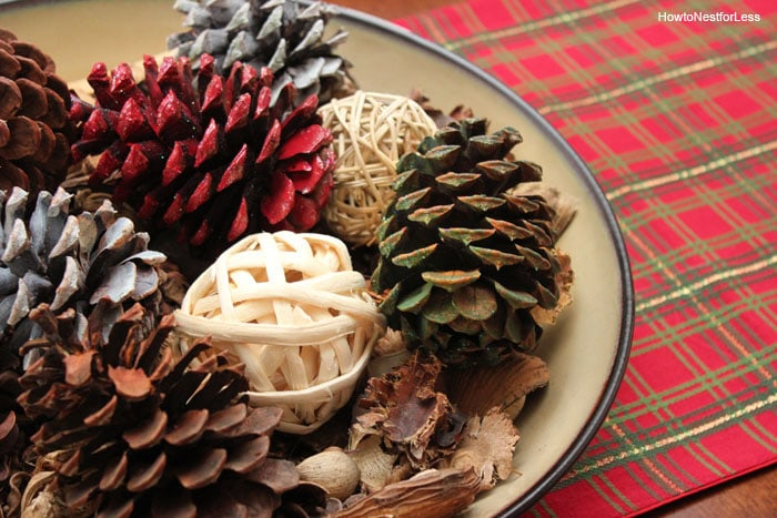 christmas pinecone family room