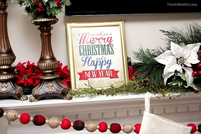 christmas printable firpelace mantel
