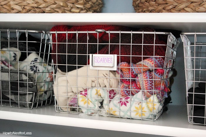coat closet basket organization