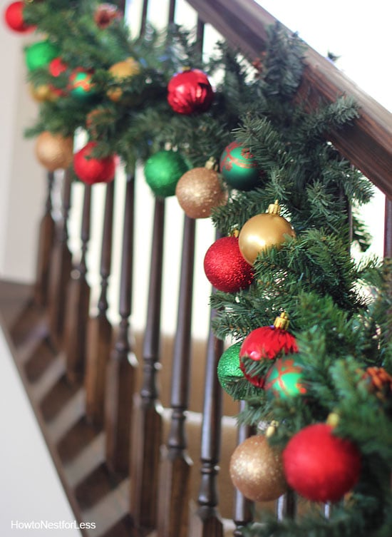 family room staircase christmas garland
