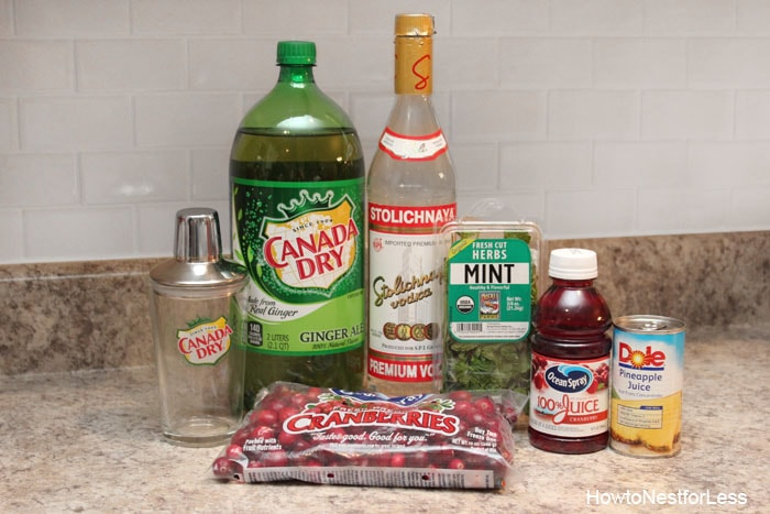 Bottle of vodka, Canada Dry, cranberry juice, cranberries. pineapples and a shaker on the counter.