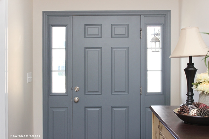 painted blue gray front door
