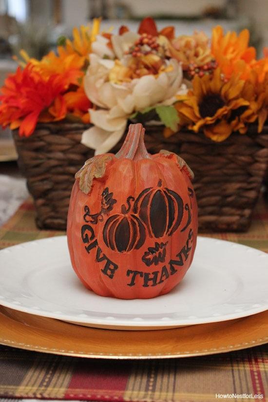 pumpkin thanksgiving table setting