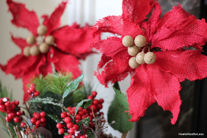 red poinsettia christmas decorations