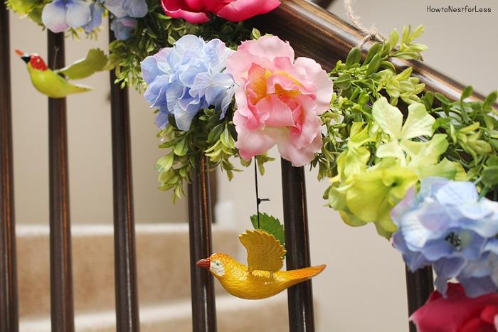 bird staircase spring garland