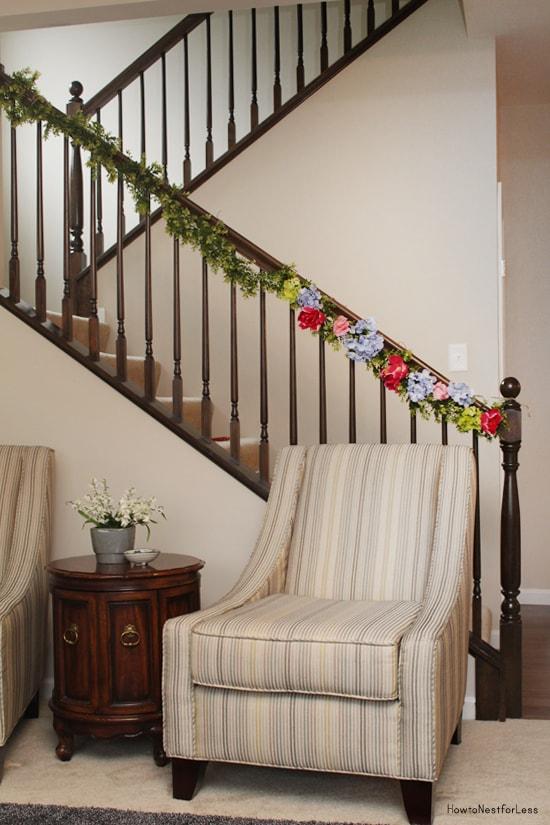 flower staircase garland