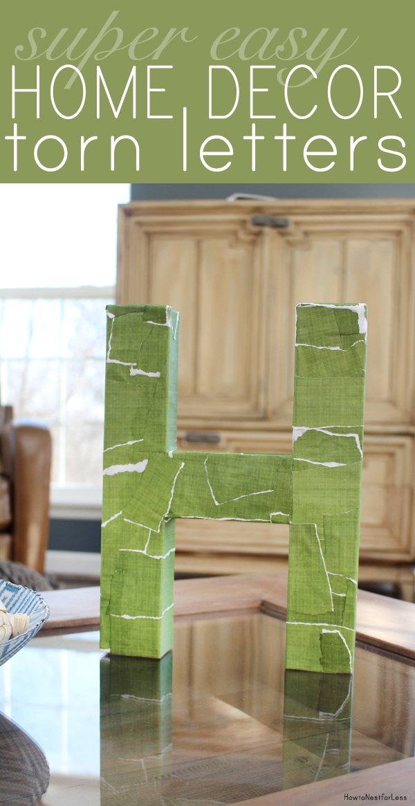 home decor torn letters