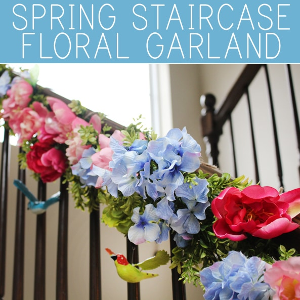 spring staircase floral garland