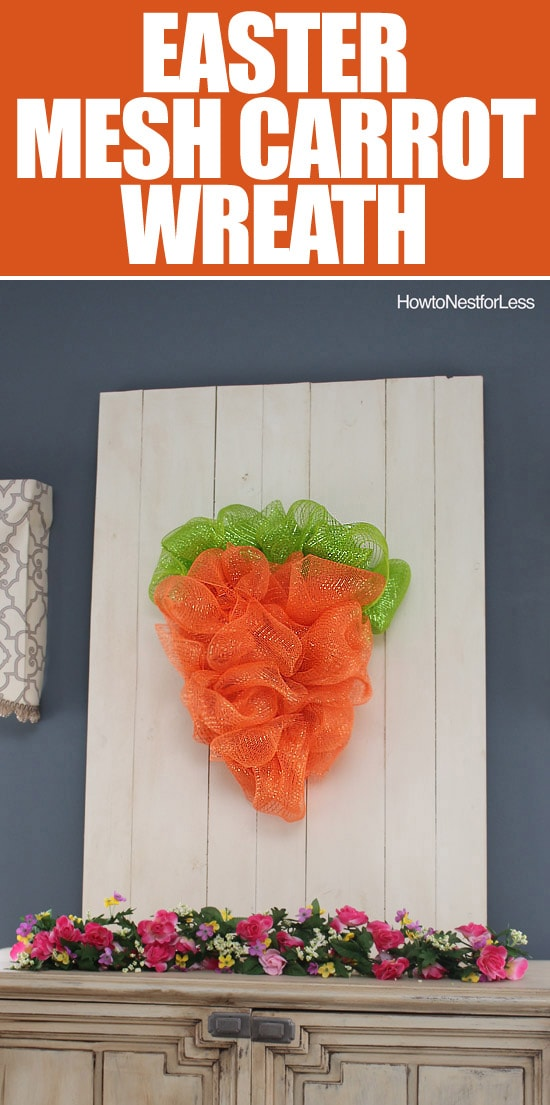 easter mesh carrot wreath tutorial