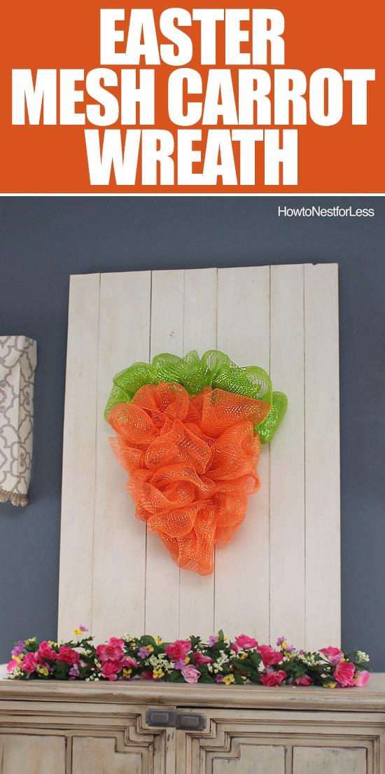 easter mesh carrot wreath tutorial