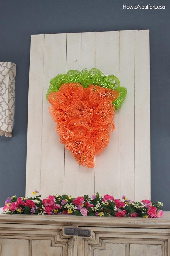 easter mesh carrot wreath