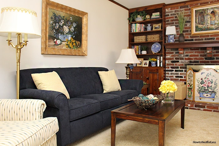 family room blue yellow makeover