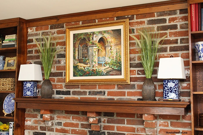 family room brick fireplace