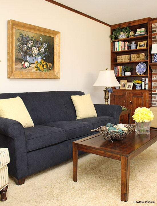 family room navy couches