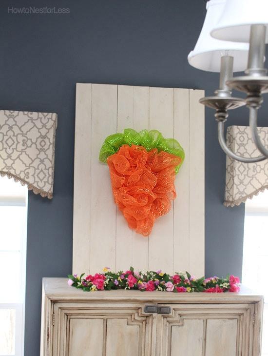 mesh carrot wreath easter