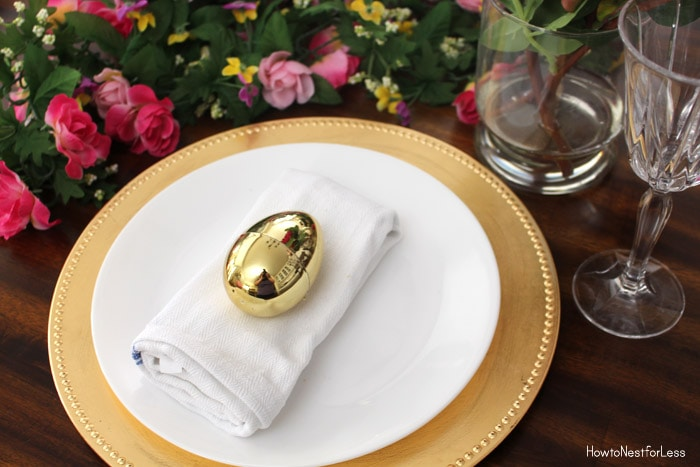 metallic easter table settings