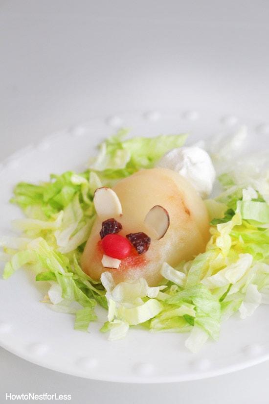 pear easter bunny dessert