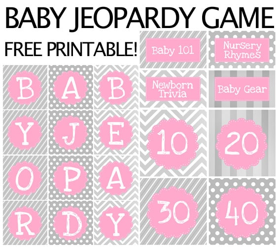 baby jeopardy free printable game