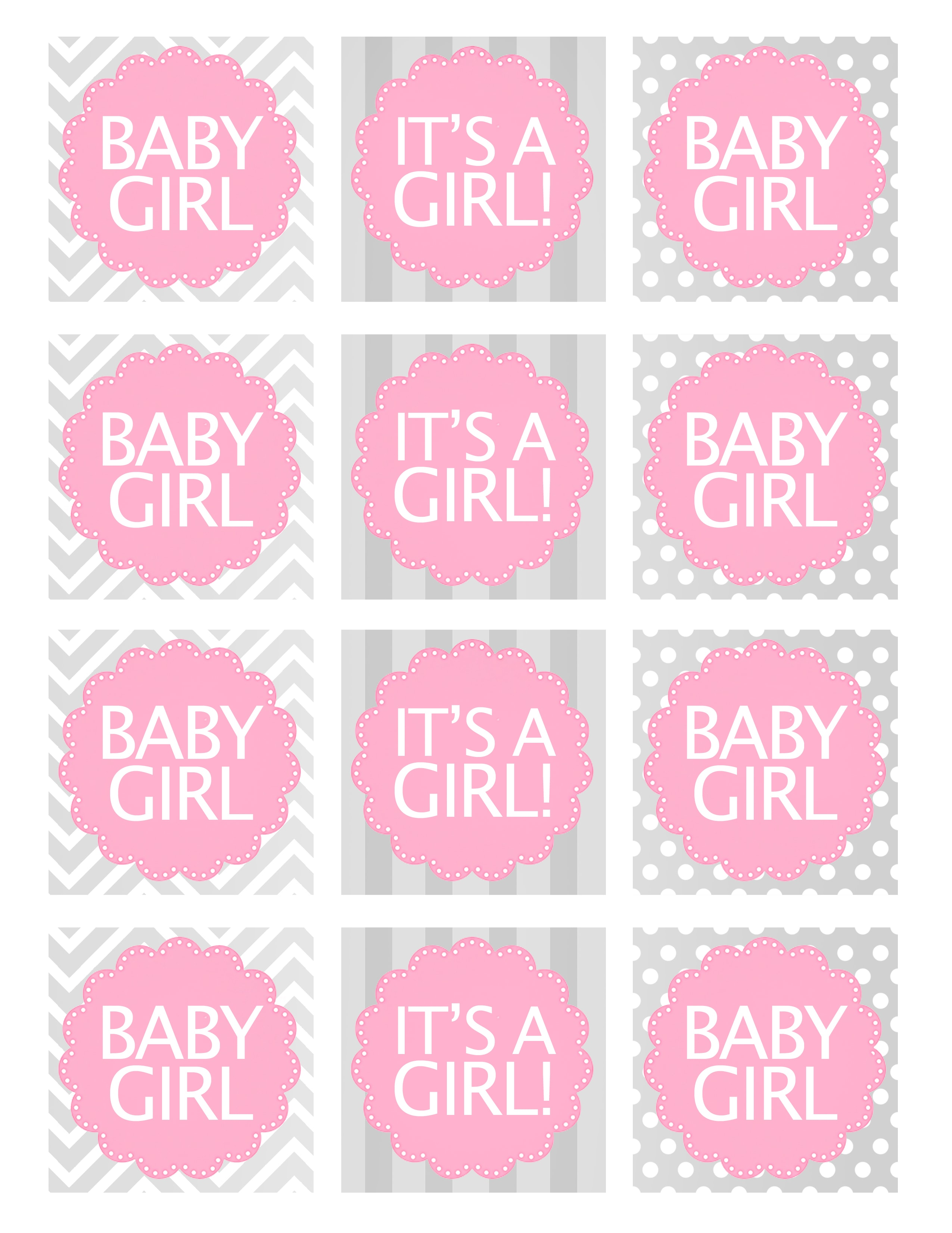Girl Baby Shower Favor Tags