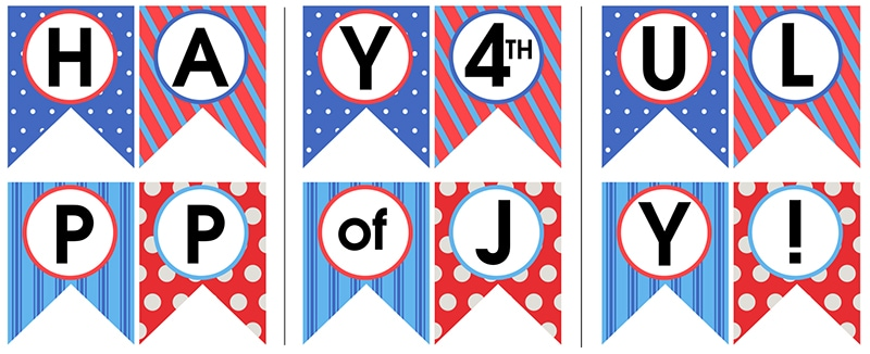 4th of july bunting banner printable