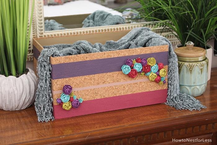DIY floral striped painted basket