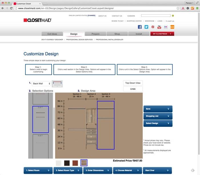 closetmaid customize design