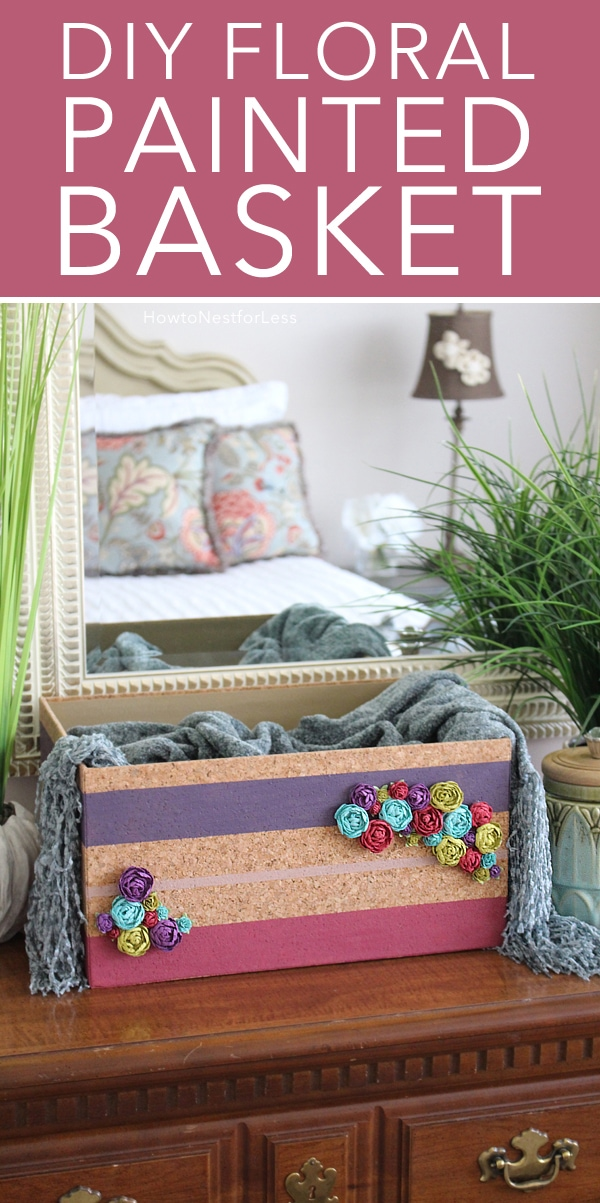 diy floral striped basket