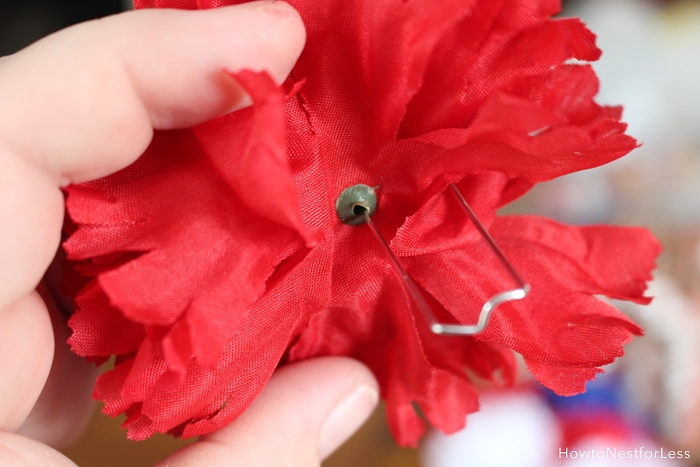 how to attach flowers to a wreath