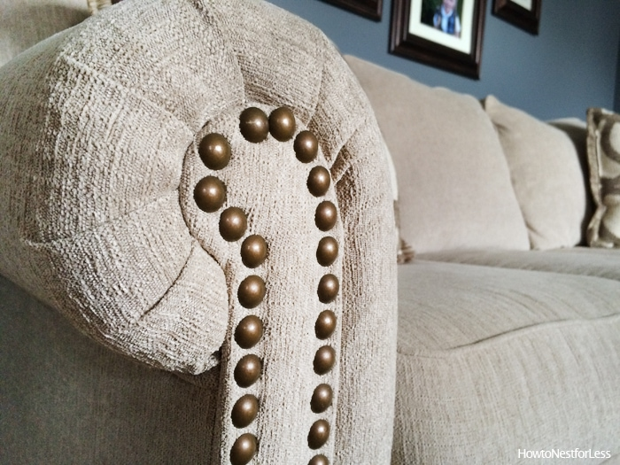 living room nail head trim