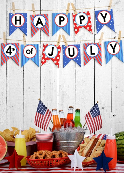 fourth of july bunting banner