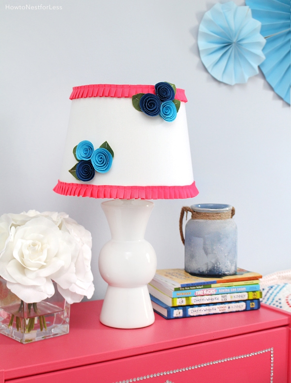 Diy floral ruffle lamp shade how to nest for less diy flower lamp shade makeover mozeypictures Images