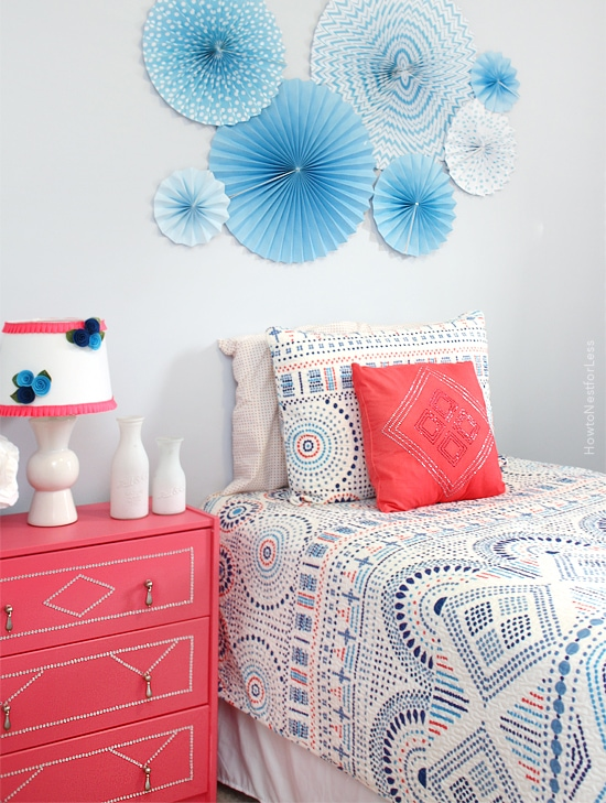 Blue And Coral Girl Bedroom