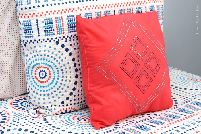 coral and blue girl bedding